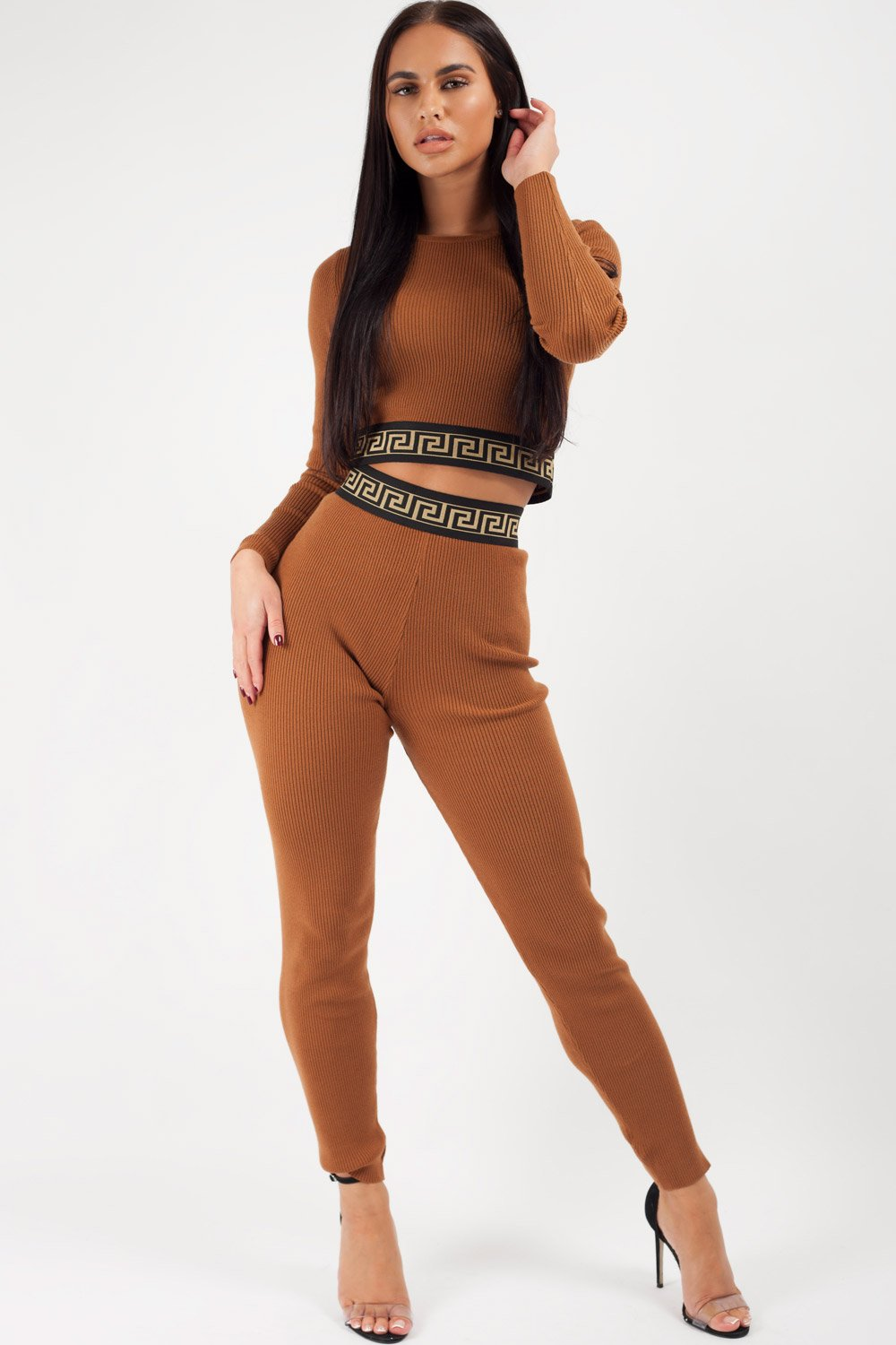 brown ribbed loungewear co ord set