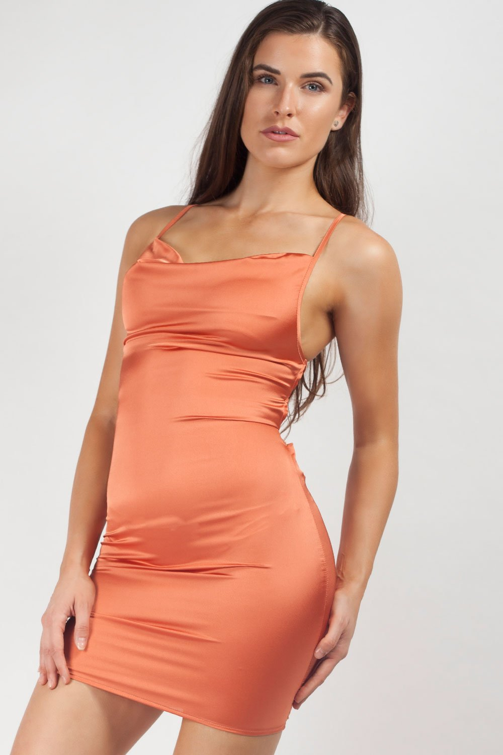 satin mini dress rust