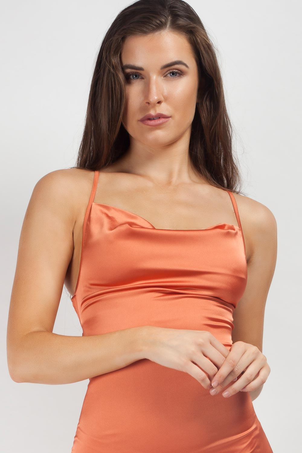 cowl neck mini slip dress rust
