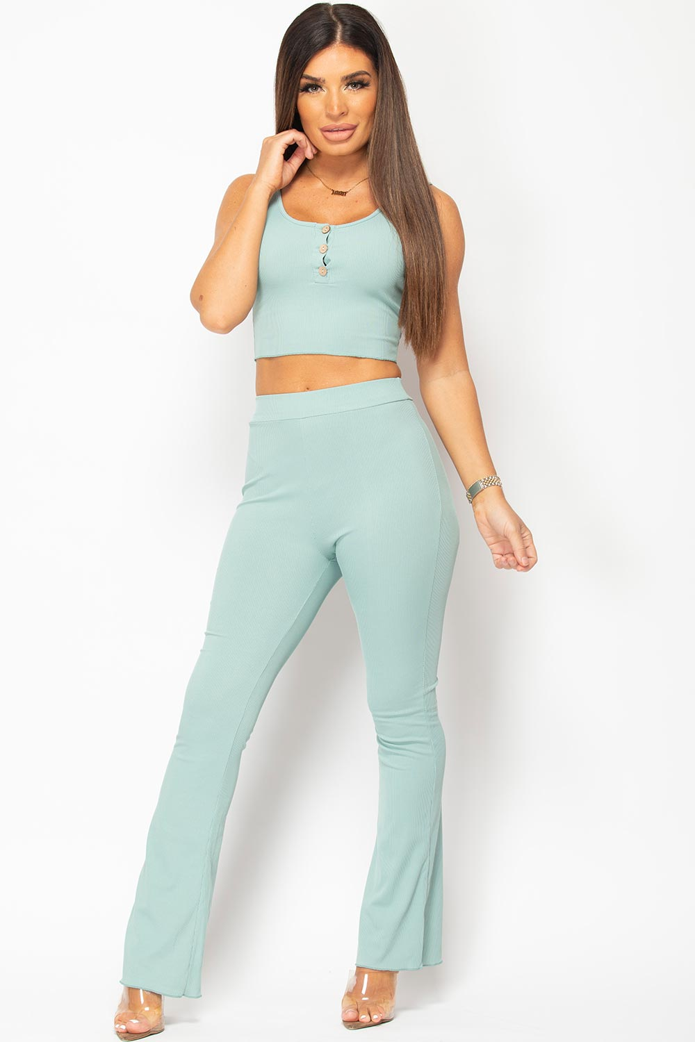 sage green crop top and trousers set