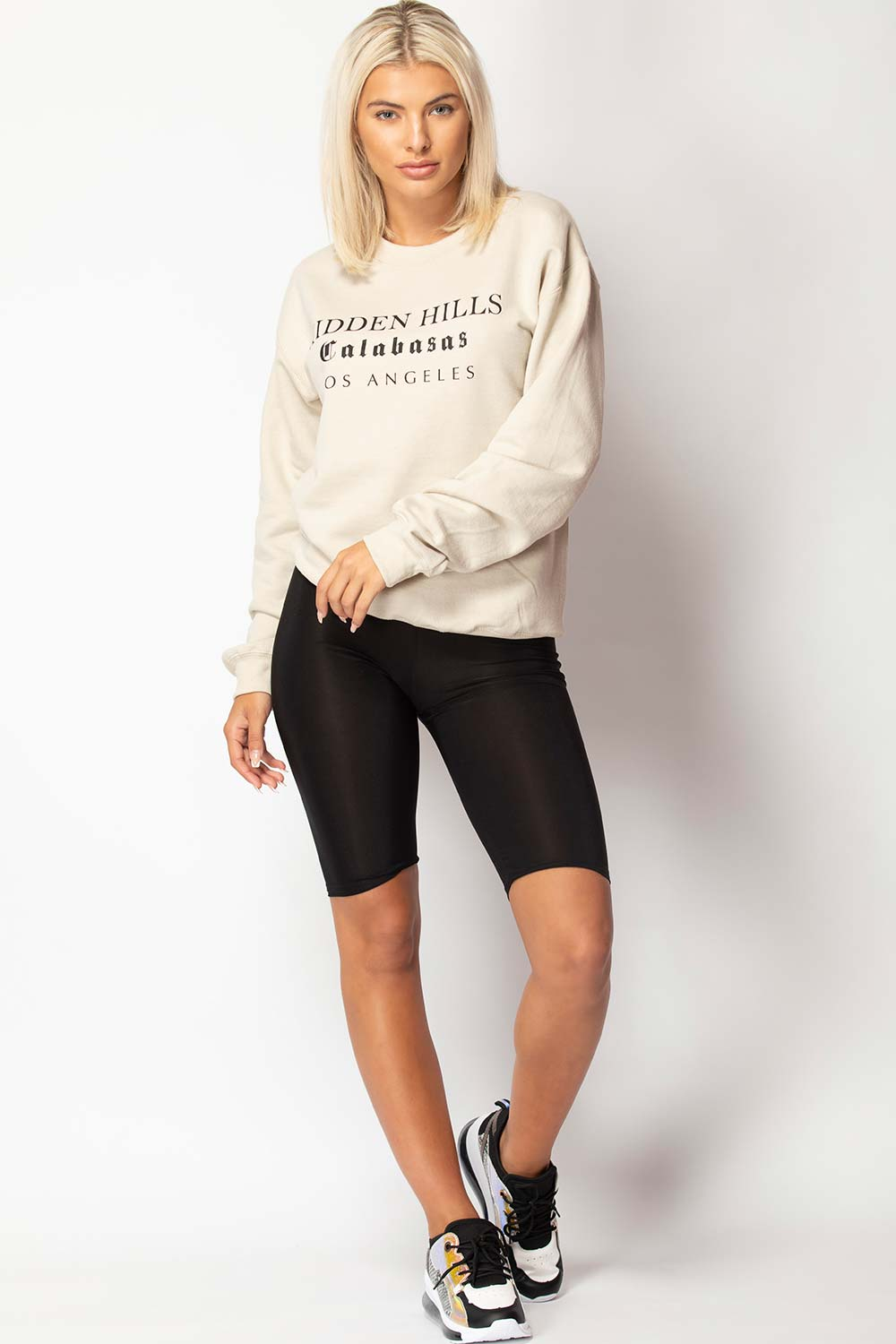 los angeles slogan sweatshirt sand