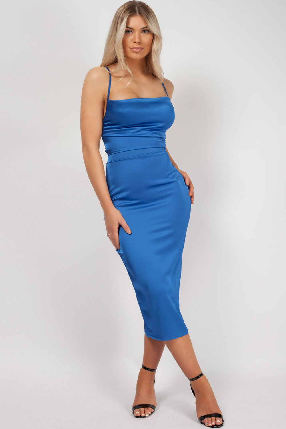 royal blue satin bodycon dress styledup fashion