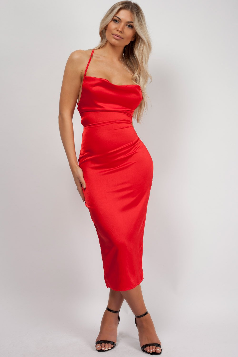 red satin midi dress styledup fashion