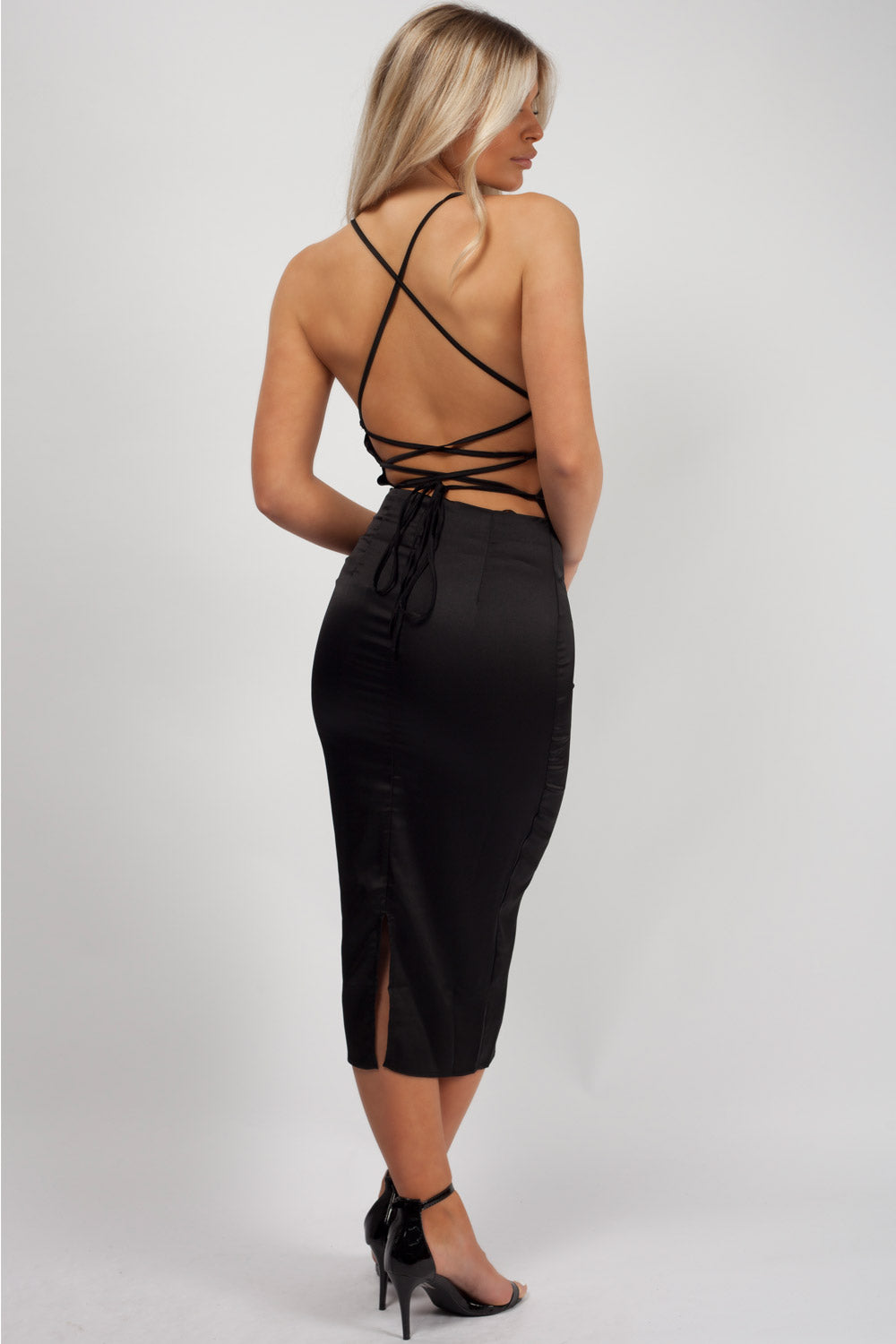 black lace up back midi dress uk