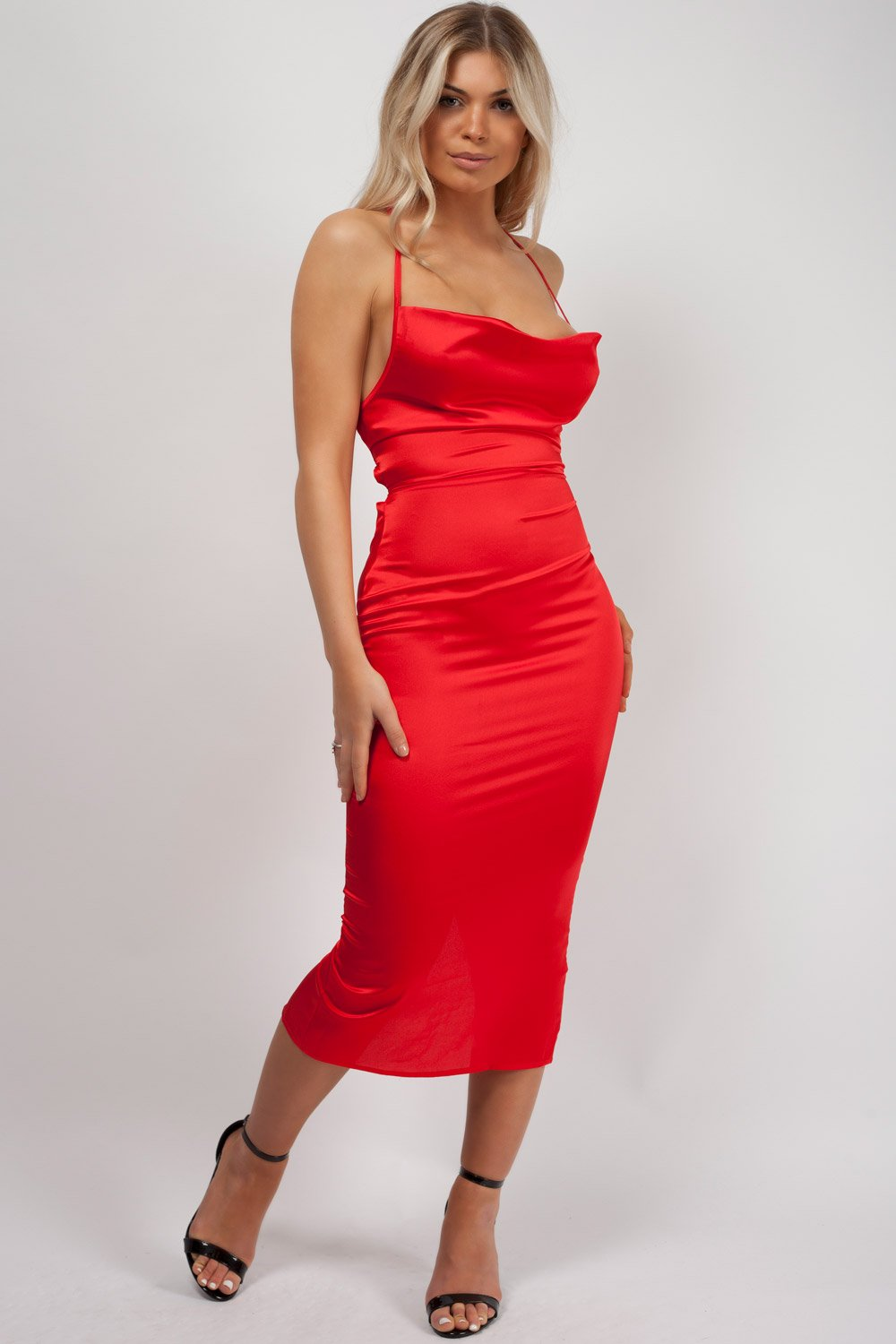 red satin dress styledup fashion