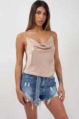 Nude Satin Cowl Neck Cami Strap Top