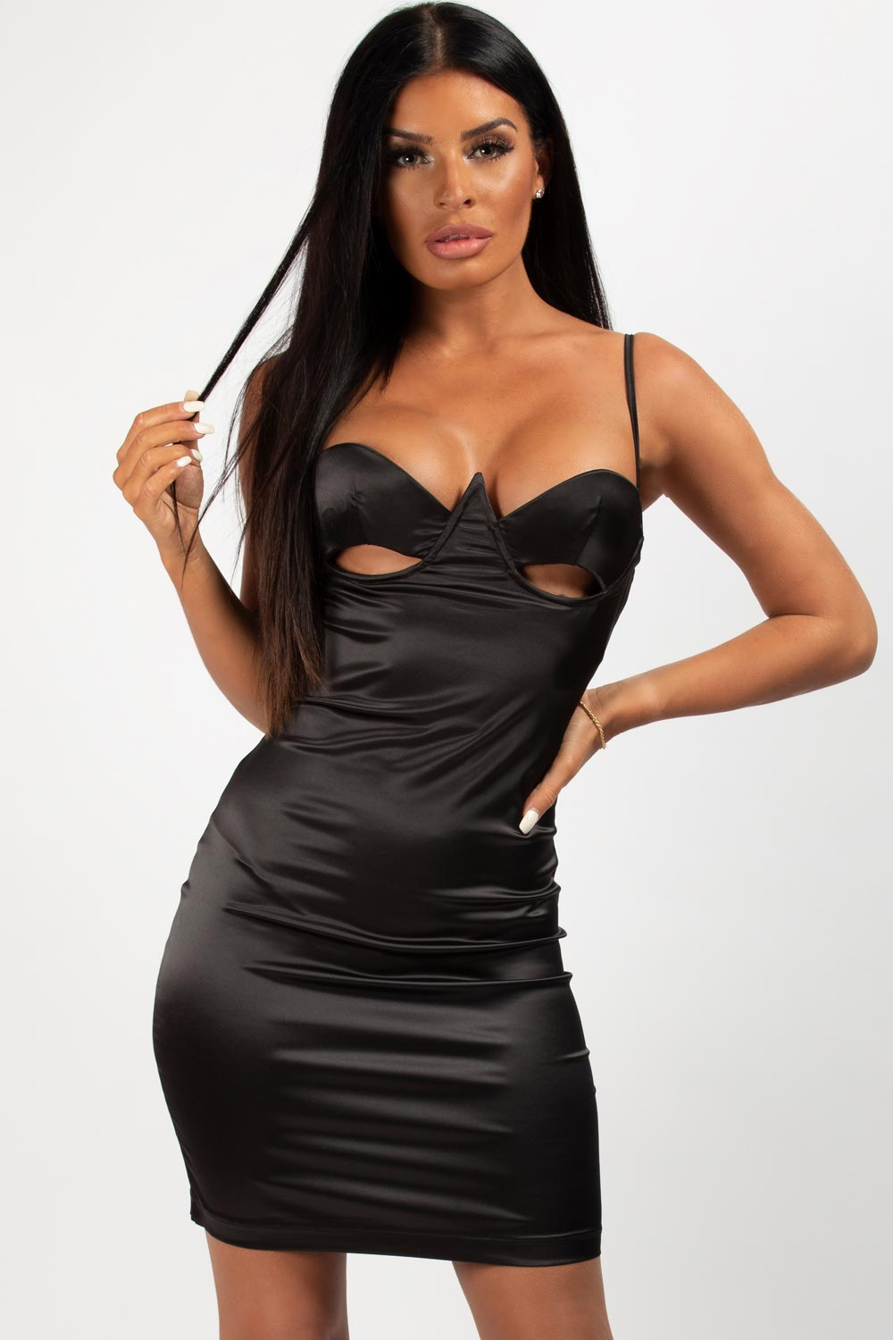 black satin mini bustier dress