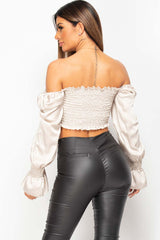 shirred ruched front satin top