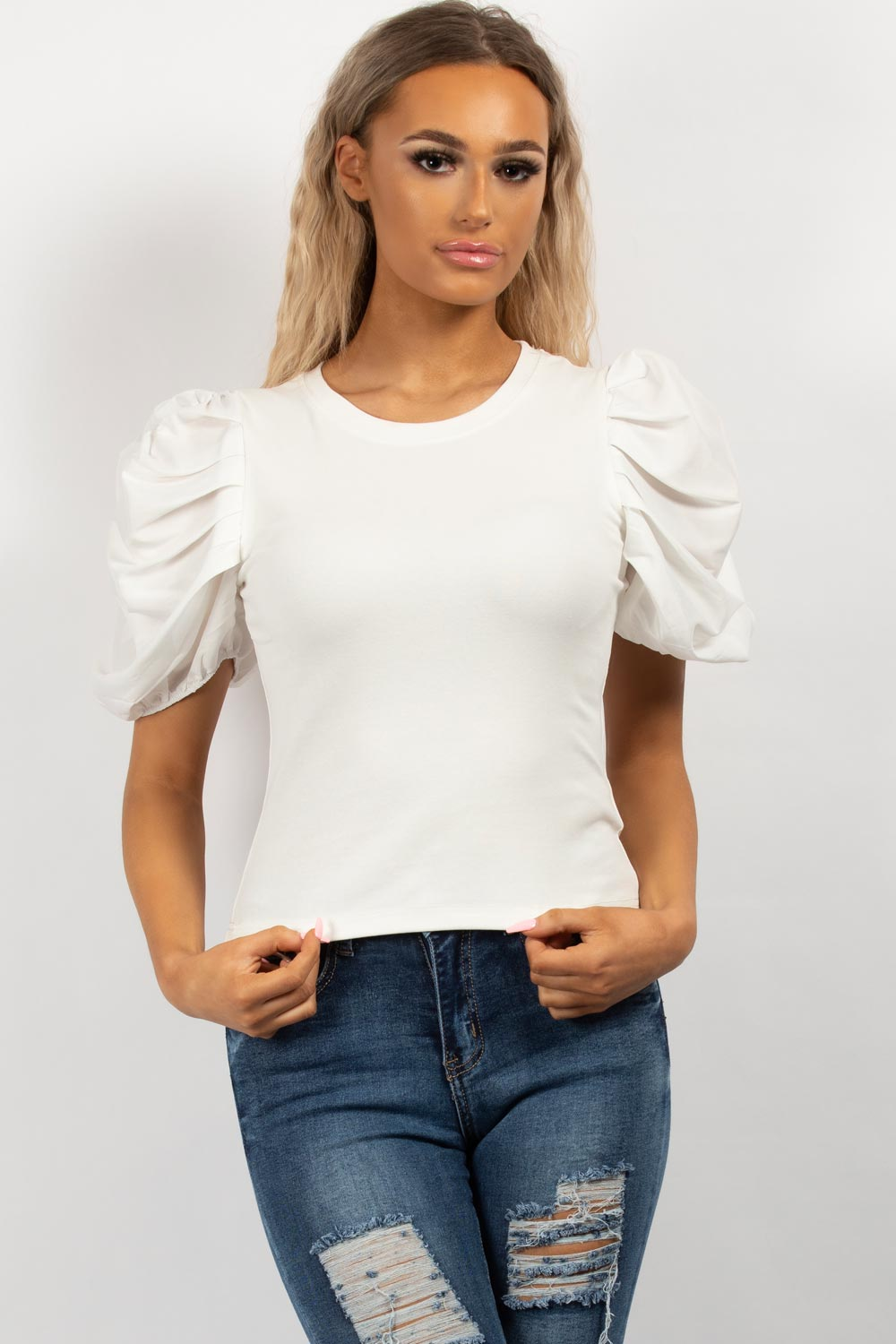 white satin ruched sleeve top