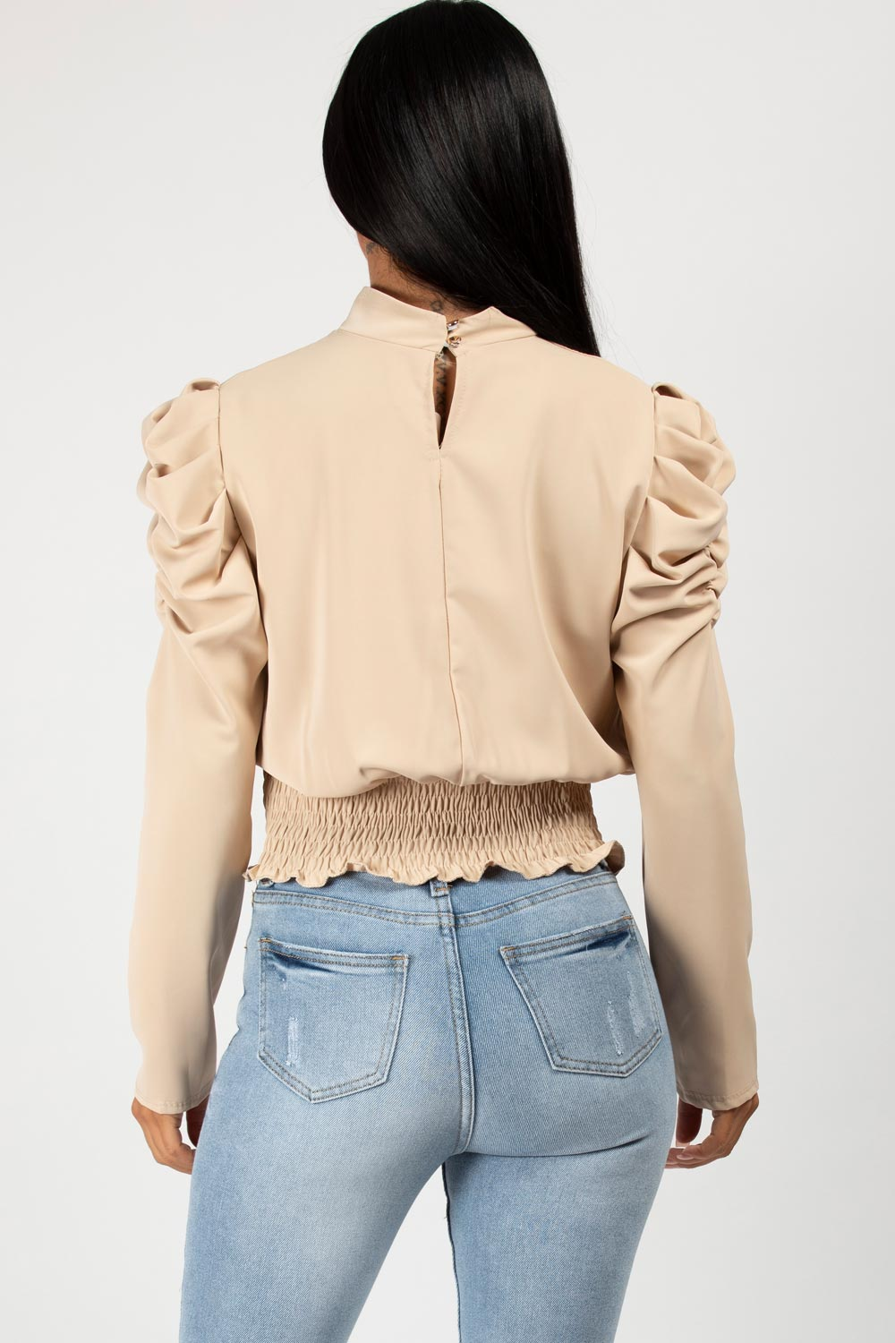 satin puff long sleeve blouse
