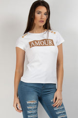 balmain inspired amour slogan t shirt white