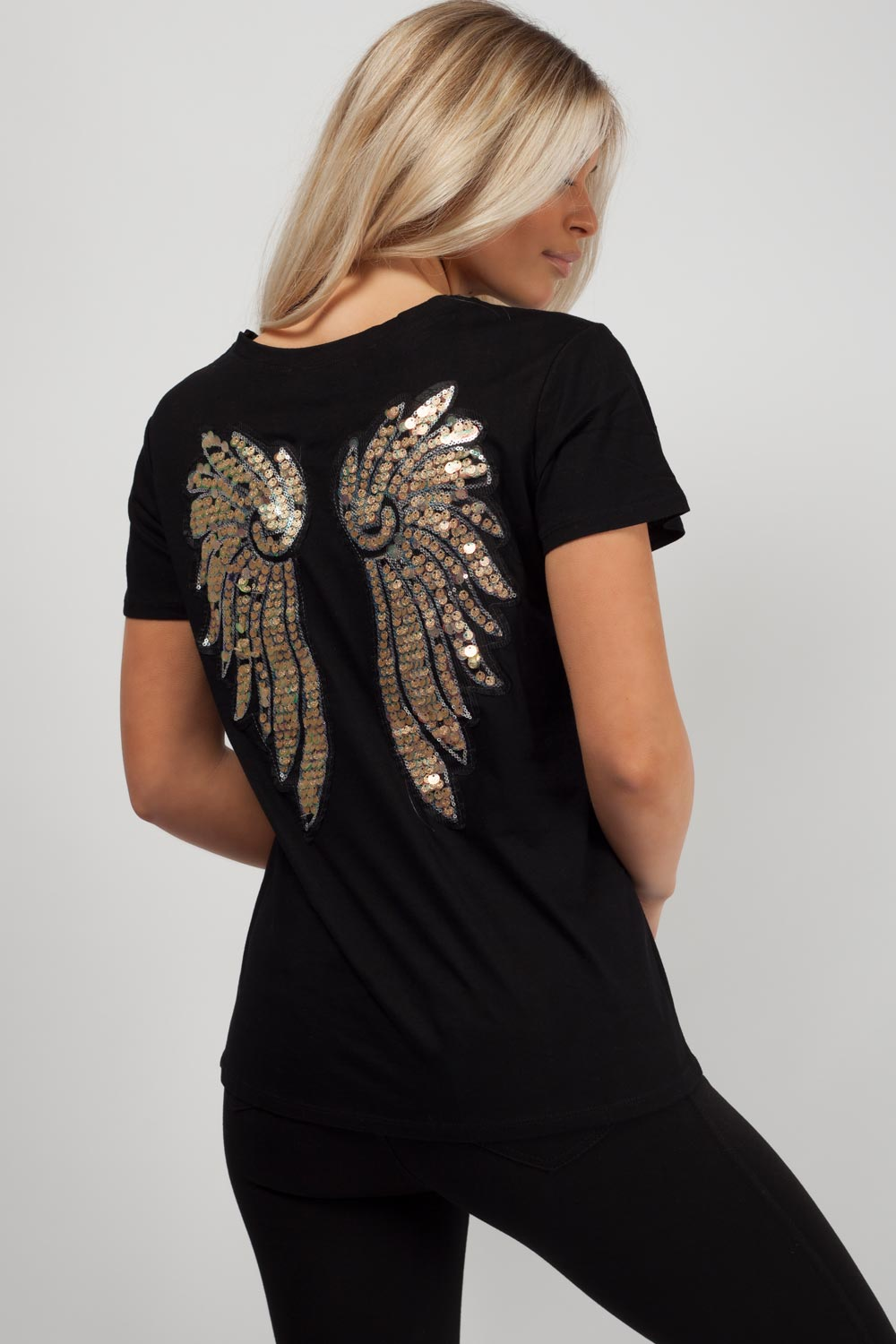 sequin angel wing back top black