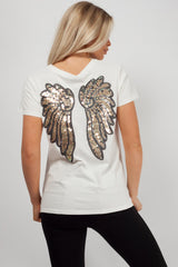 sequin angel wing back top