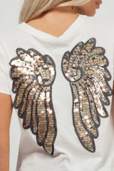 white sequin detail top womens