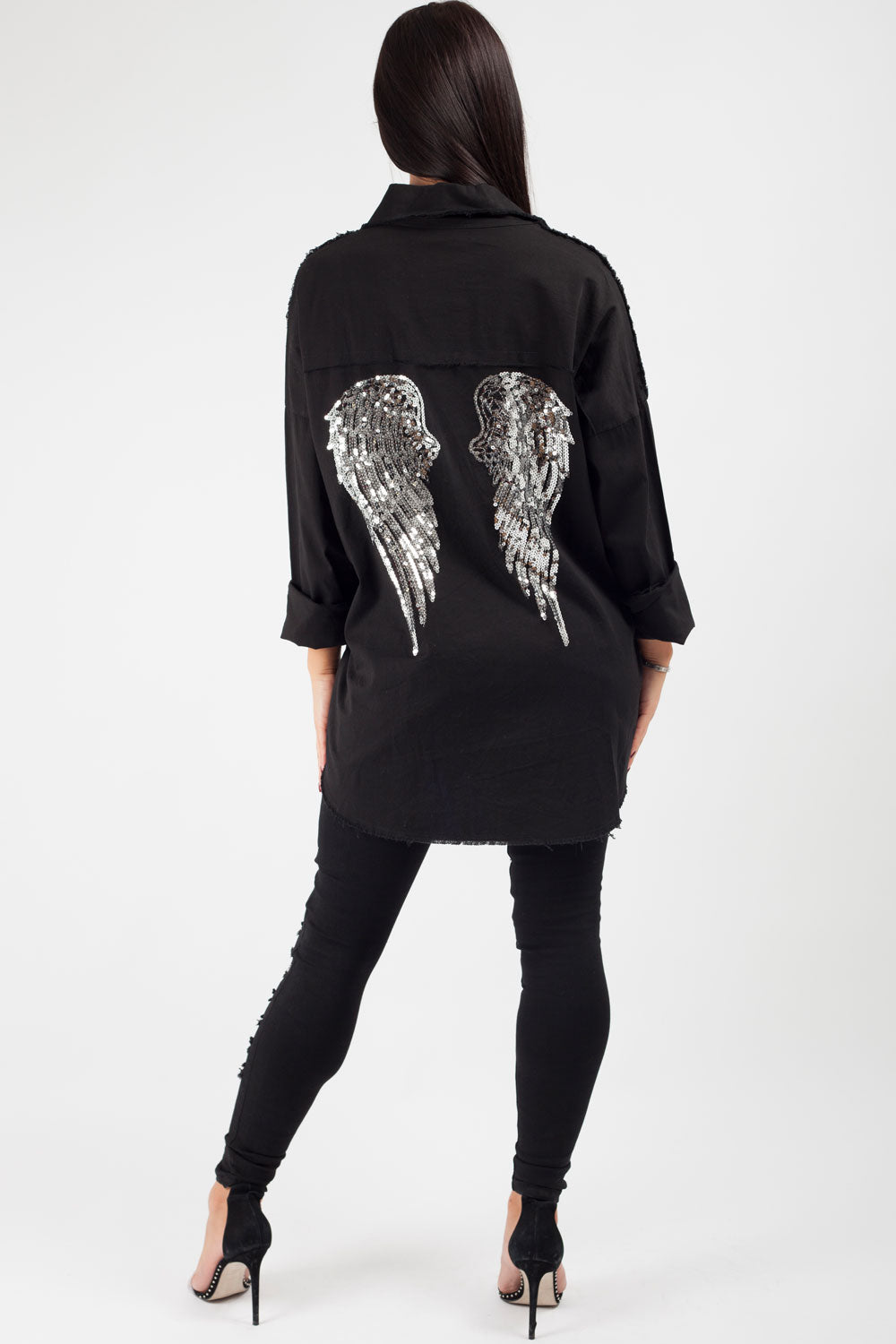 angel wings denim shirt black