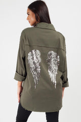sequin wings oversized shirt