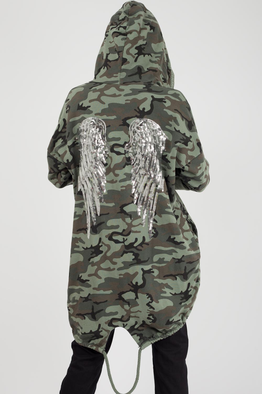 silver sequin wings detail hooded sweatshirt