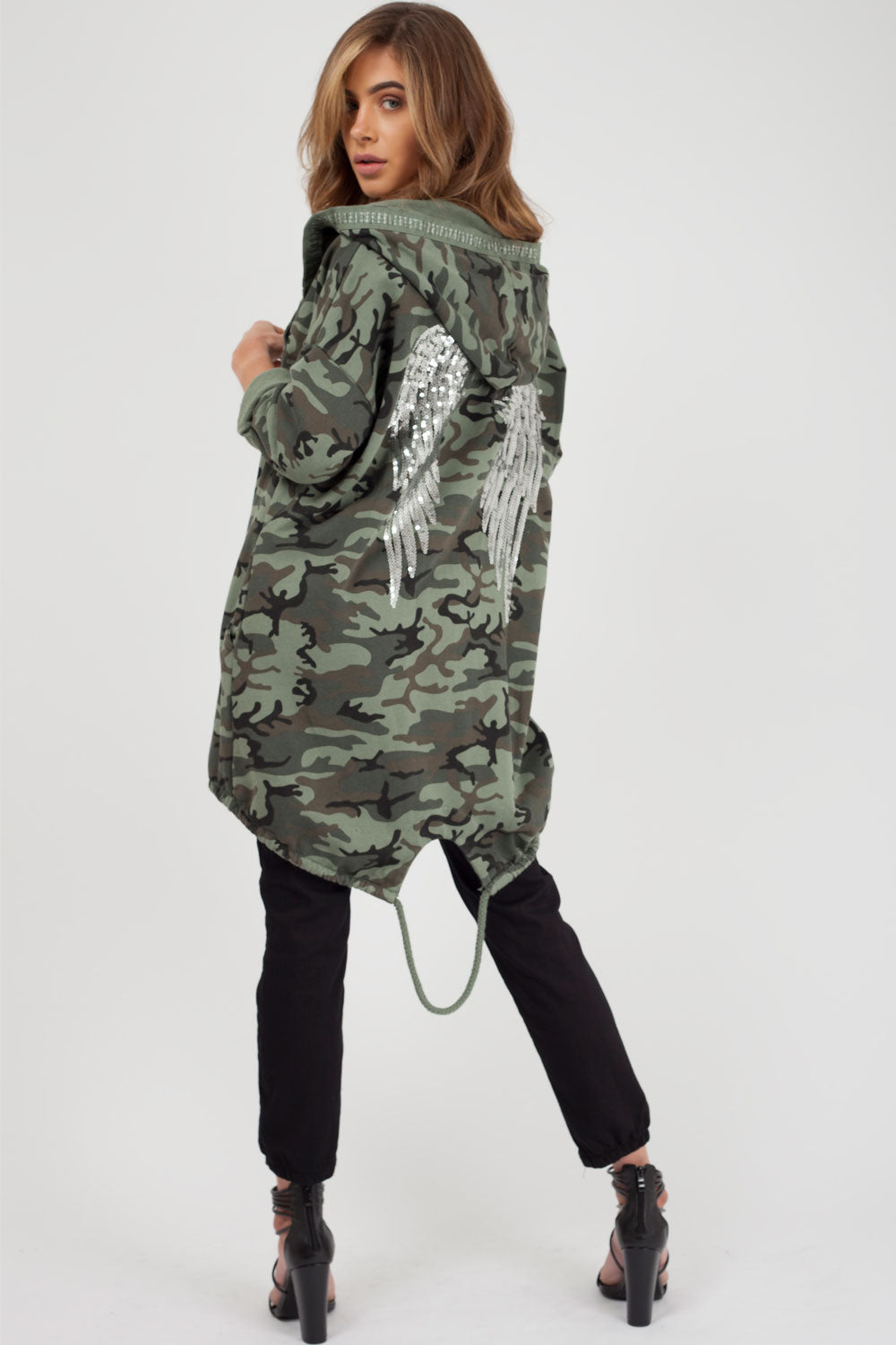sequin detail hooded sweatshirt camouflage