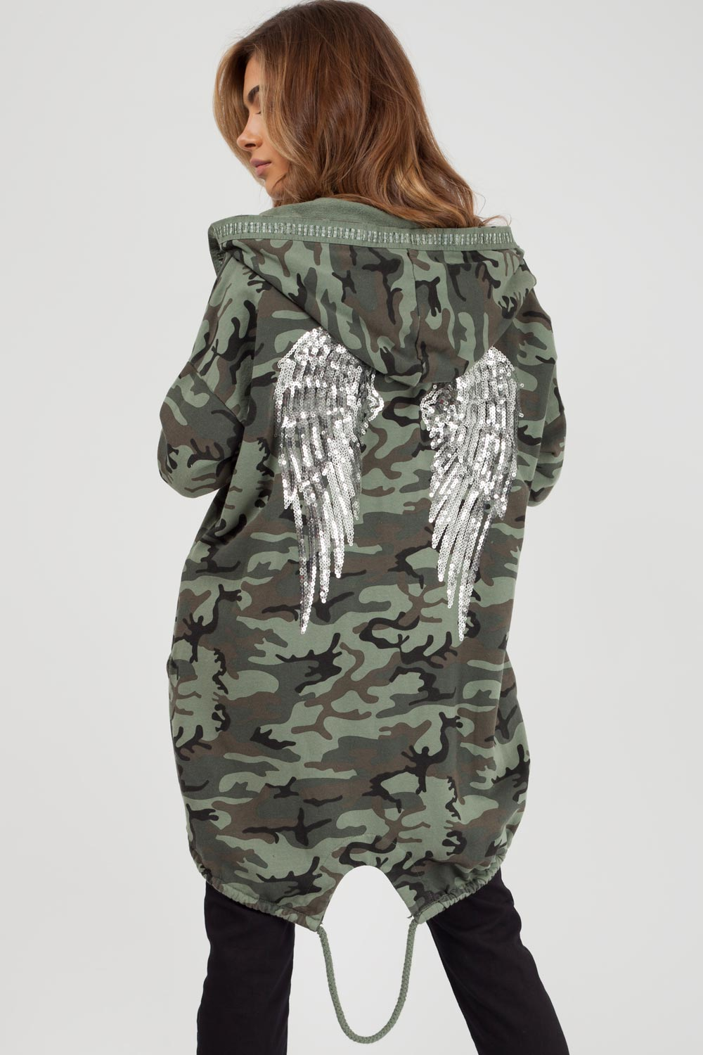 sequin wings camouflage oversized hoodie