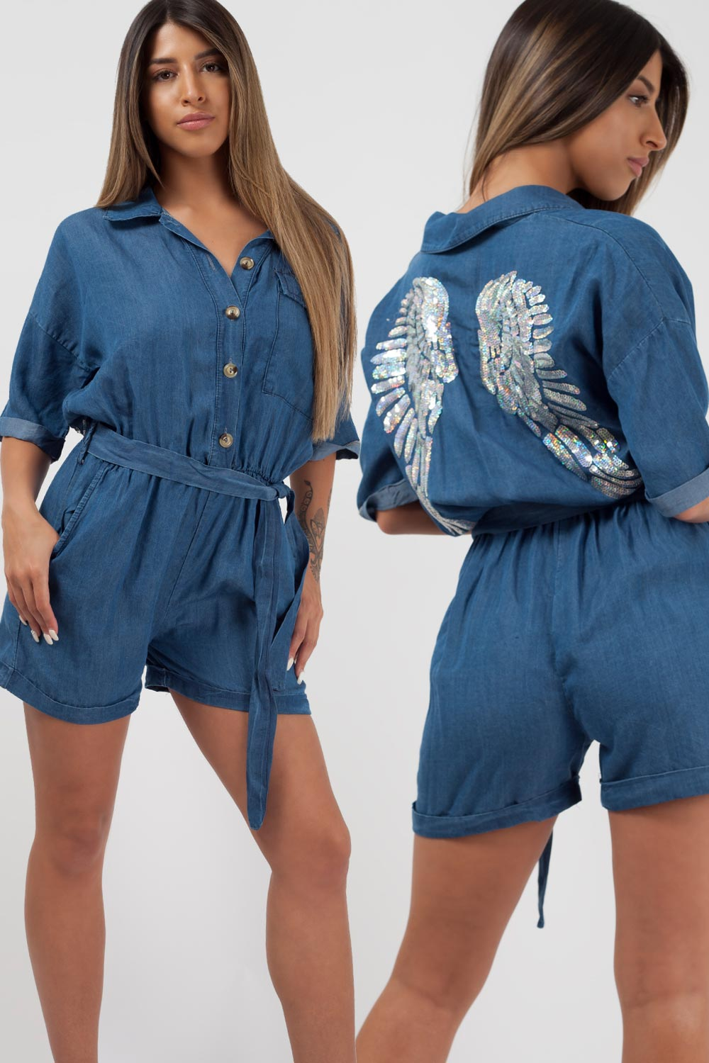 denim playsuit with sequin wings back