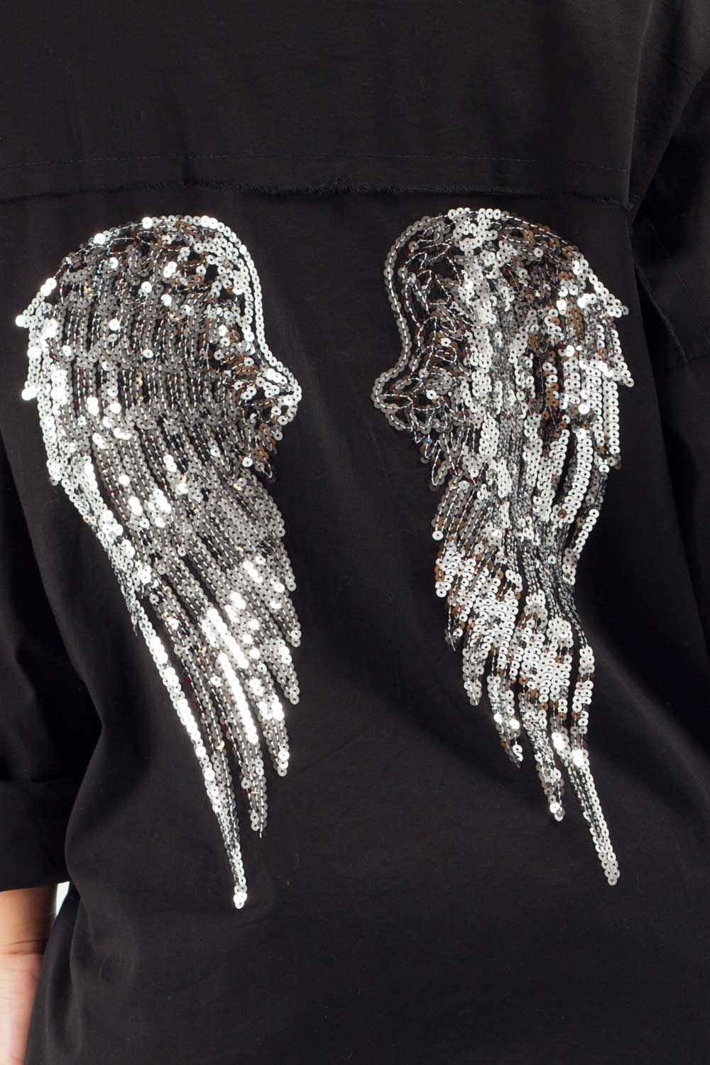 womens sequin wings denim shirt black