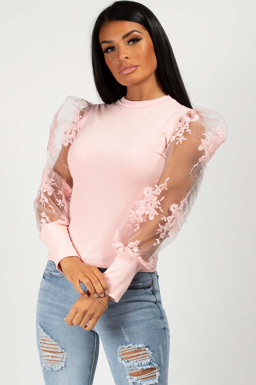 pink ribbed lace puff sleeve top