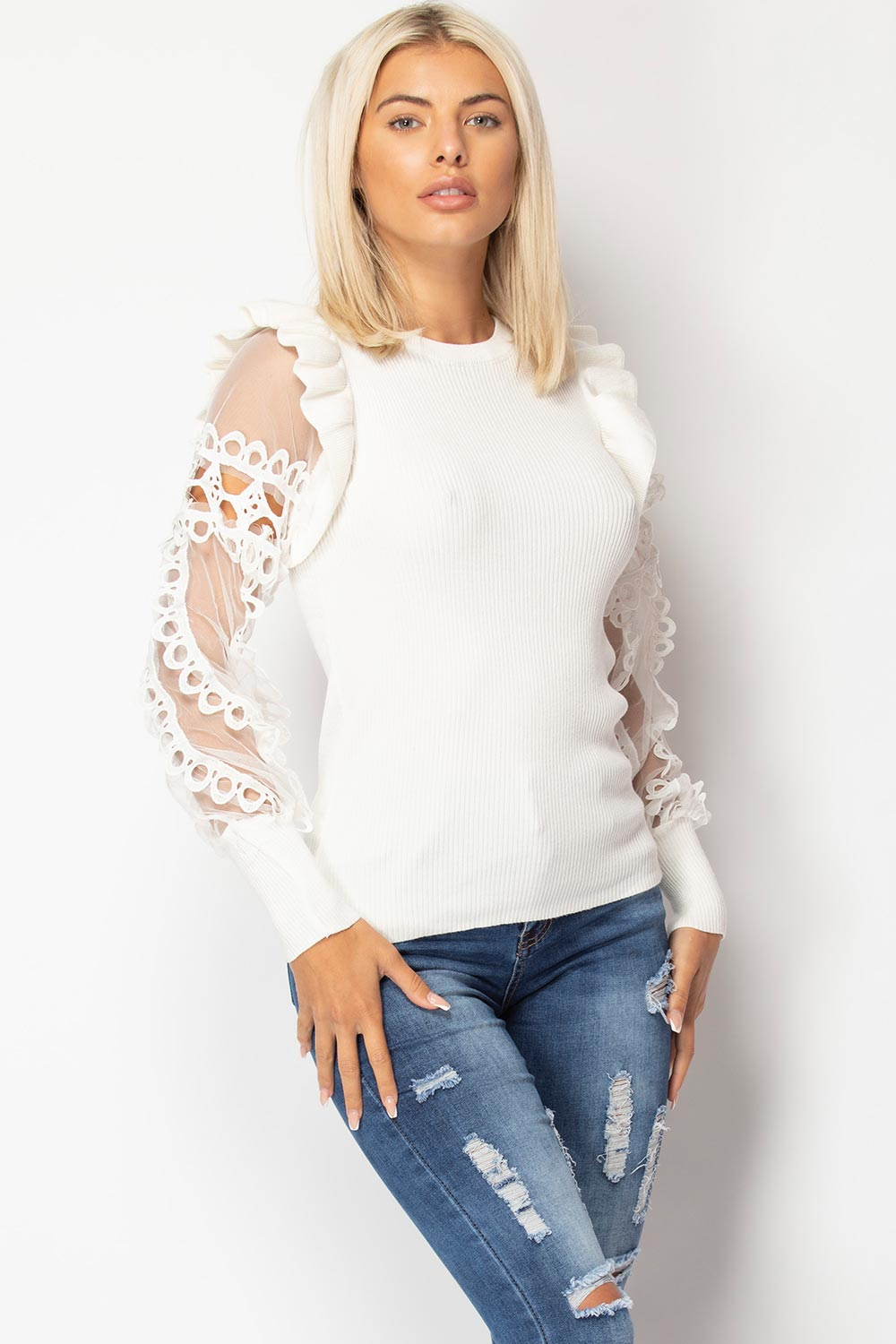 sheer lace sleeve jumper