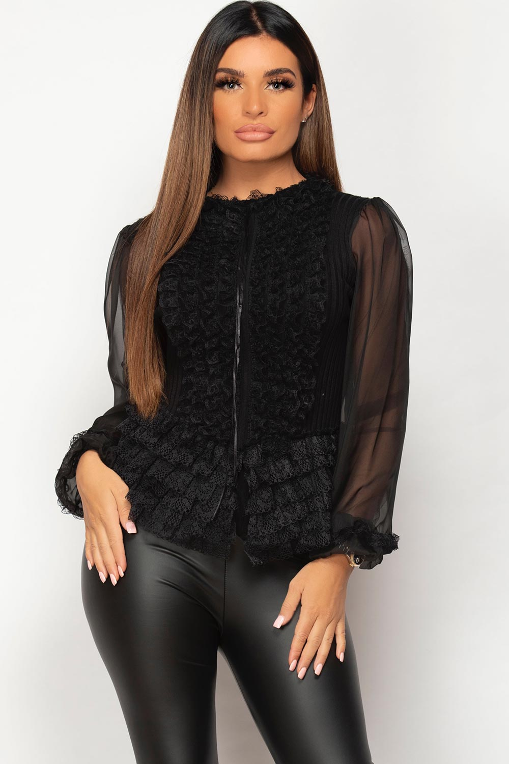 black sheer lace sleeve ribbed jumper