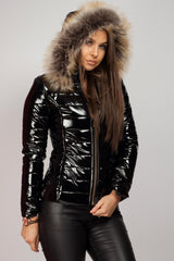 shinny faux fur puffer coat black