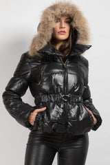 fur hooded coat black