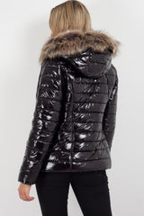 black puffer jacket with hood womens