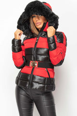 faux fur hood shiny puffer jacket