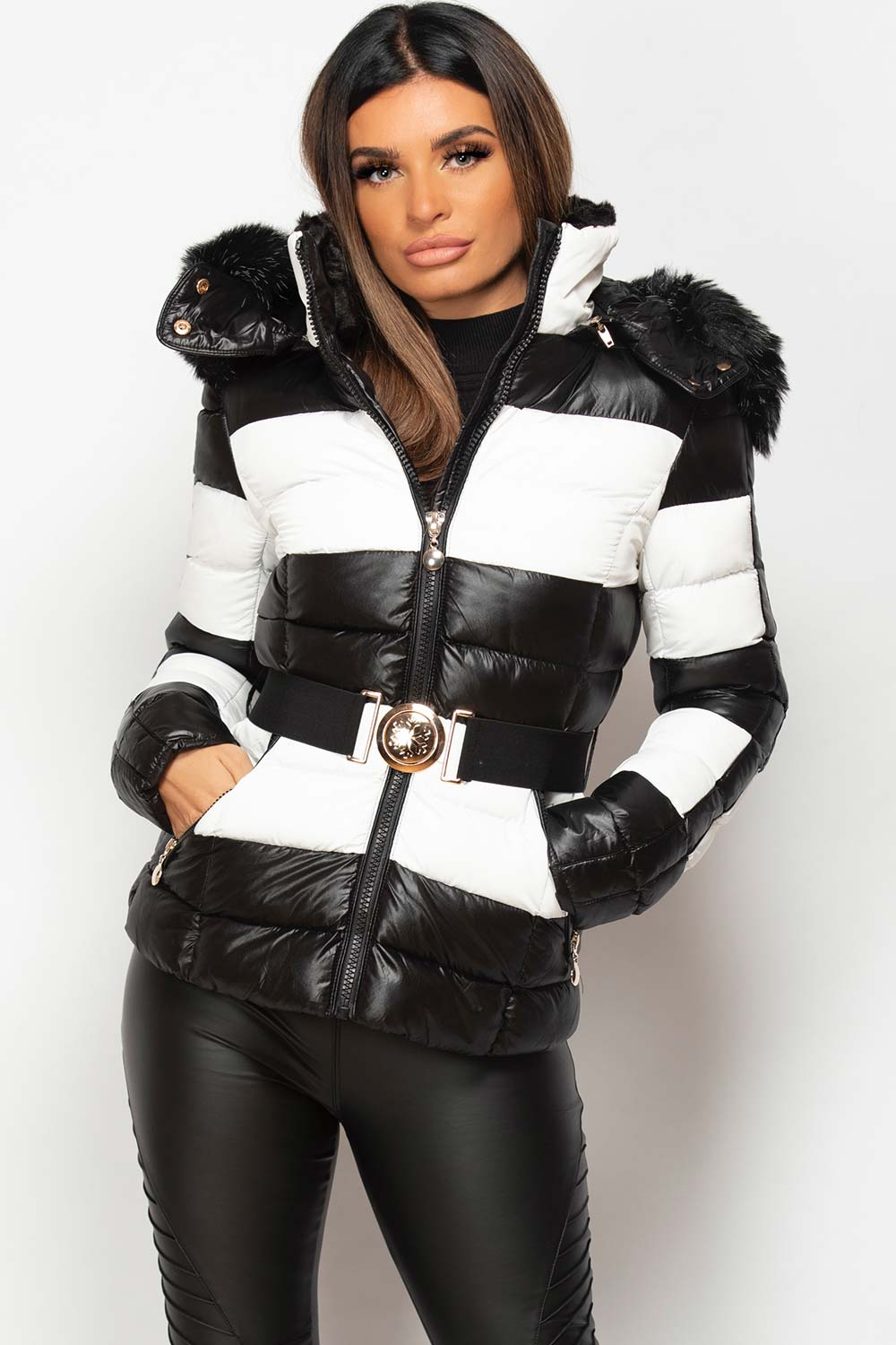 faux fur hood shiny puffer coat black and white