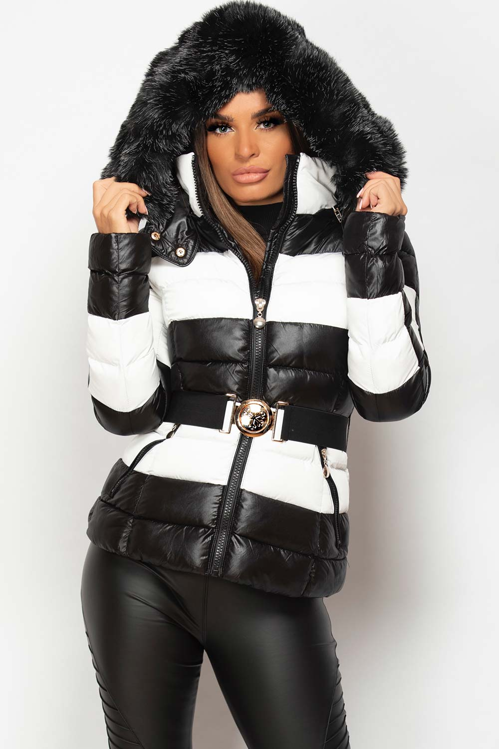 black and white shiny puffer coat