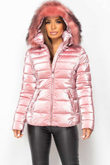 womens pink puffer coat with fur hood