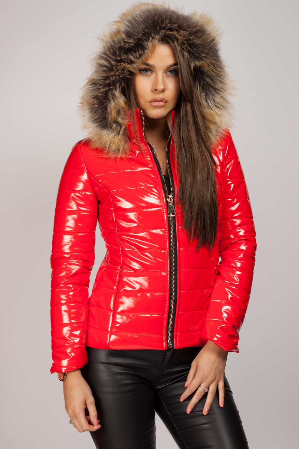 67a73d1c01e0 red puffer jacket women's. red faux fur hood wetlook jacket
