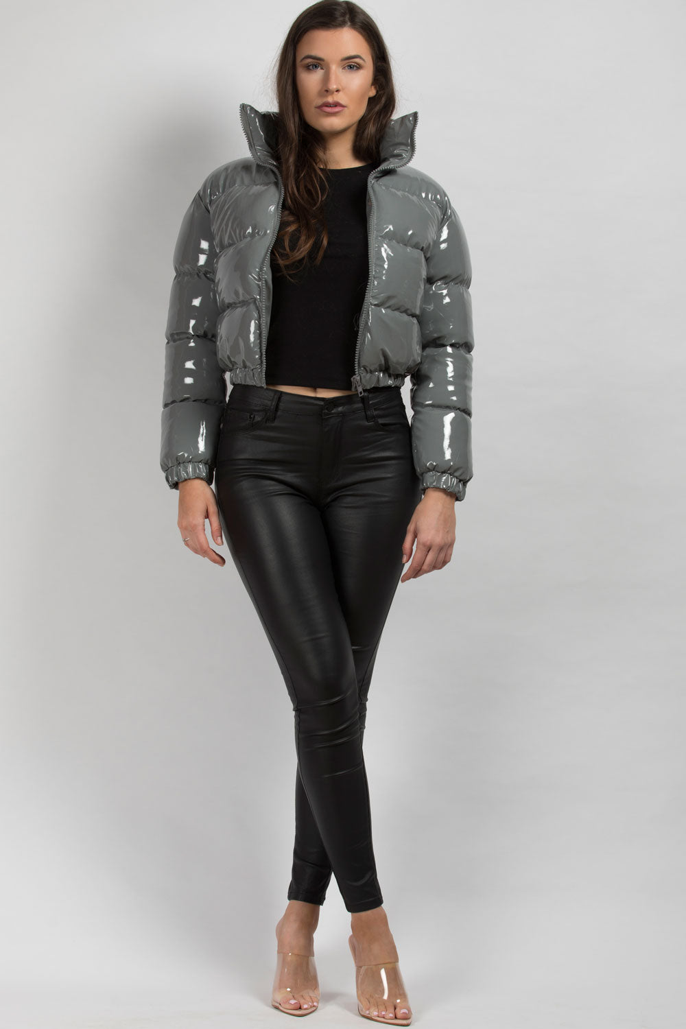 grey vinyl wet look shiny puffer crop jacket