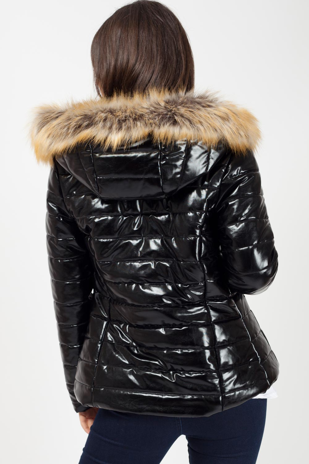 black wetlook puffer coat