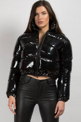 black shiny puffer padded jacket on sale womens