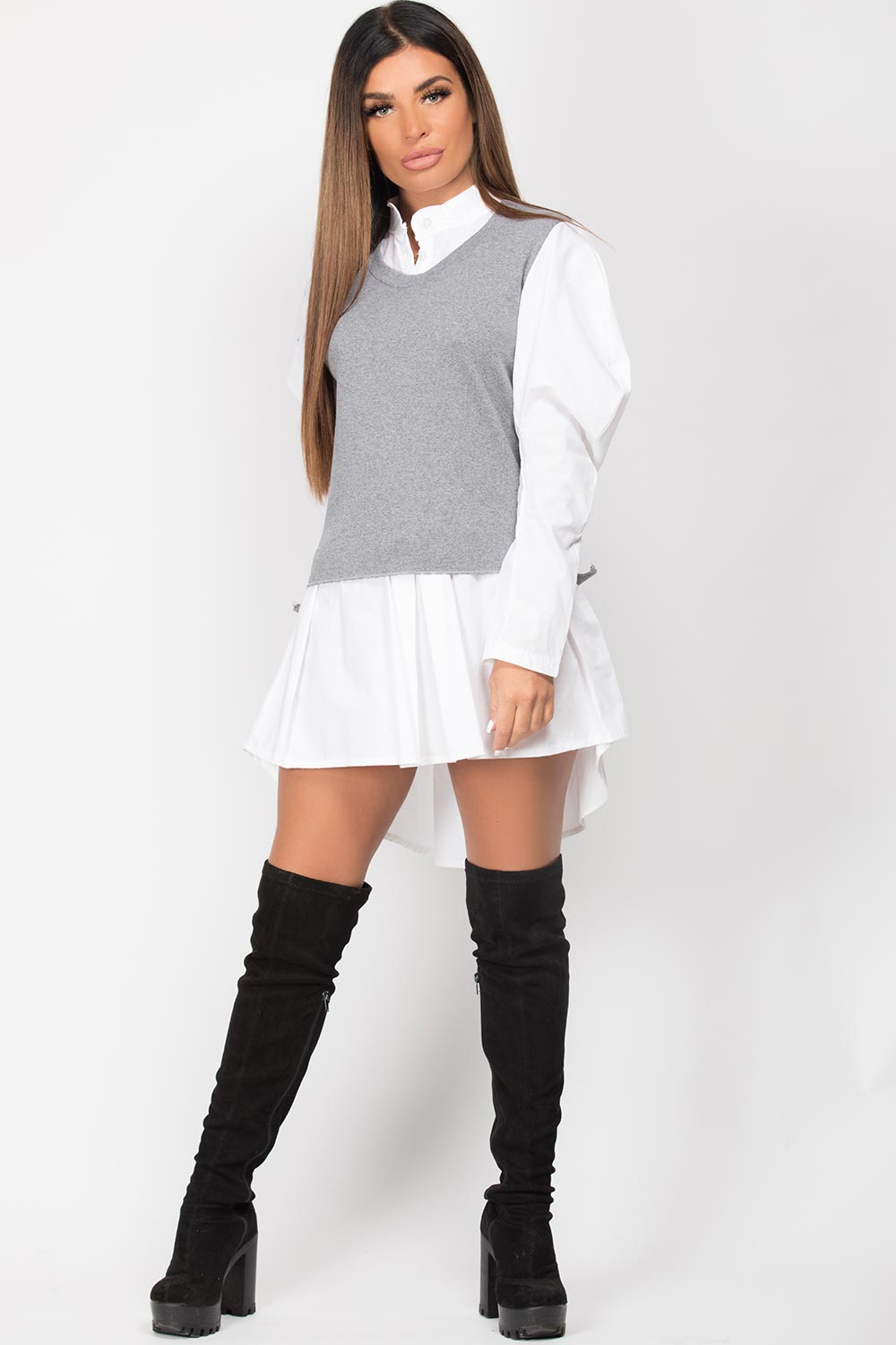 grey jumper shirt womens