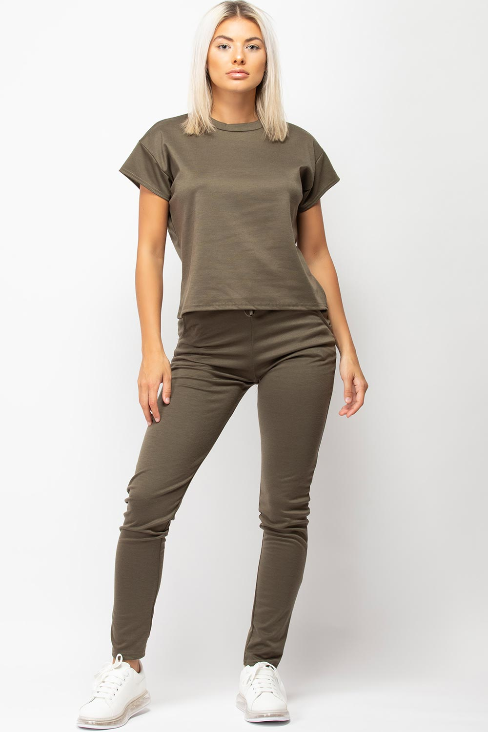 womens khaki loungewear set