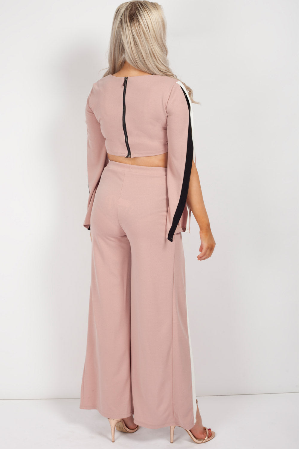 trousers and crop top set pink