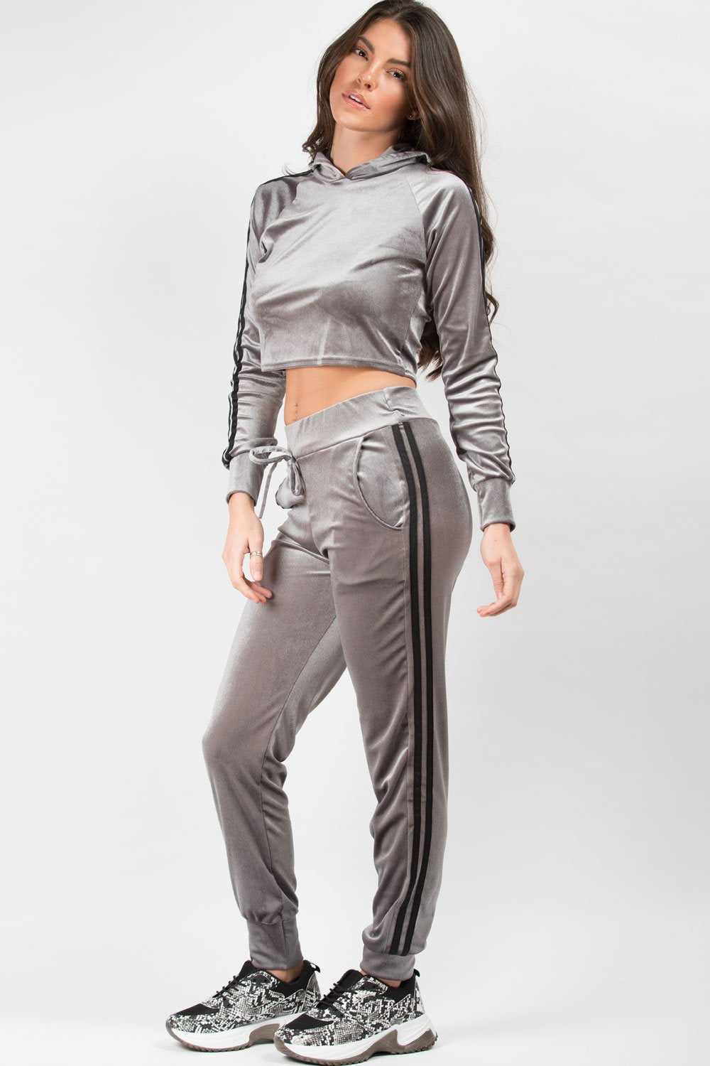 side stripe velvet loungewear tracksuit set grey