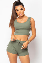 khaki ribbed top and shorts loungewear set