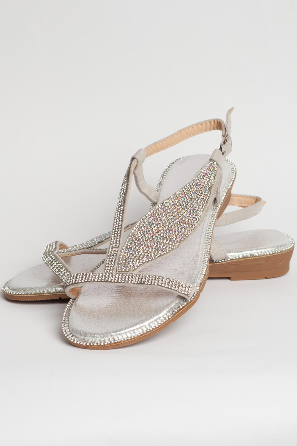 Diamante Flat Sandals co Silver Styledup – uk v8wN0nmO