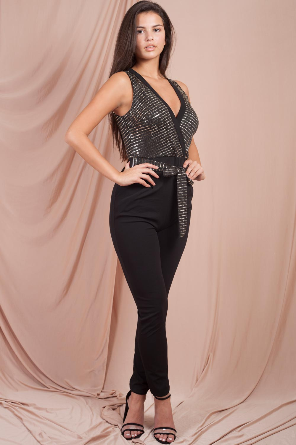 plunge sequin jumpsuit black