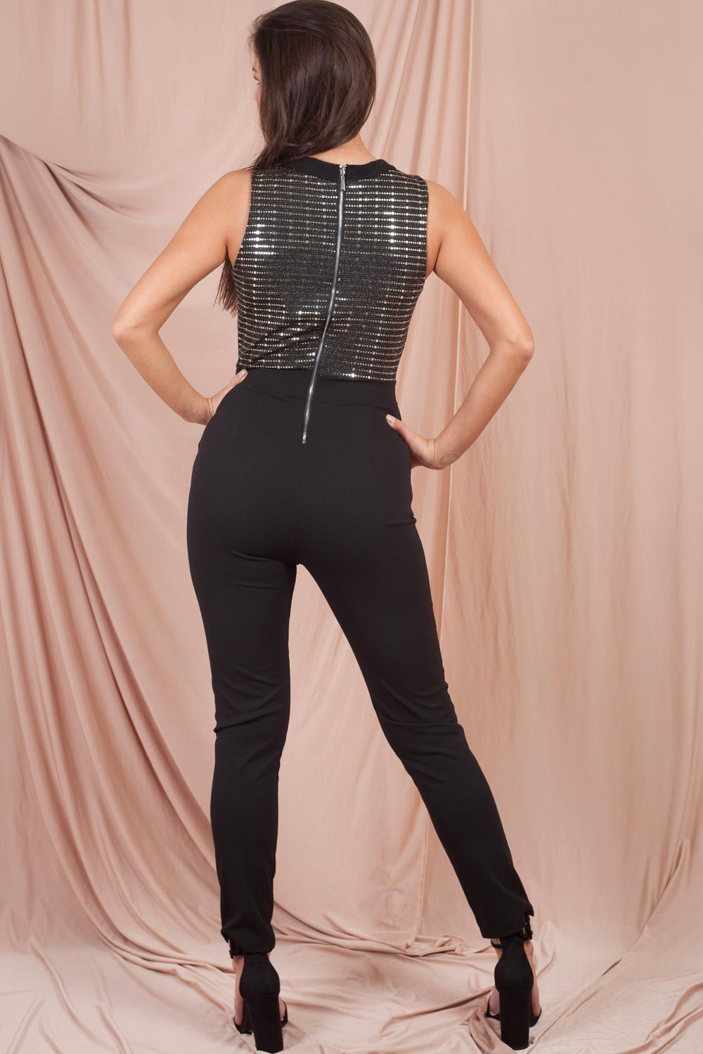 sequin belted plunge jumpsuit uk