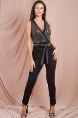 sequin jumpsuit black