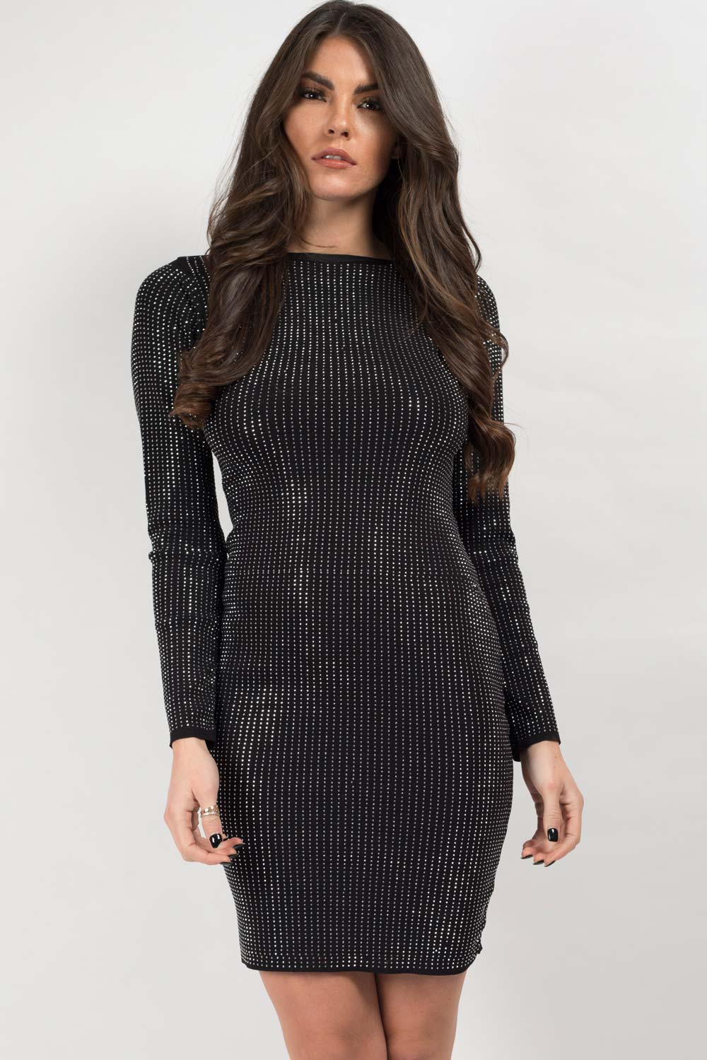 metallic sequin knitted dress