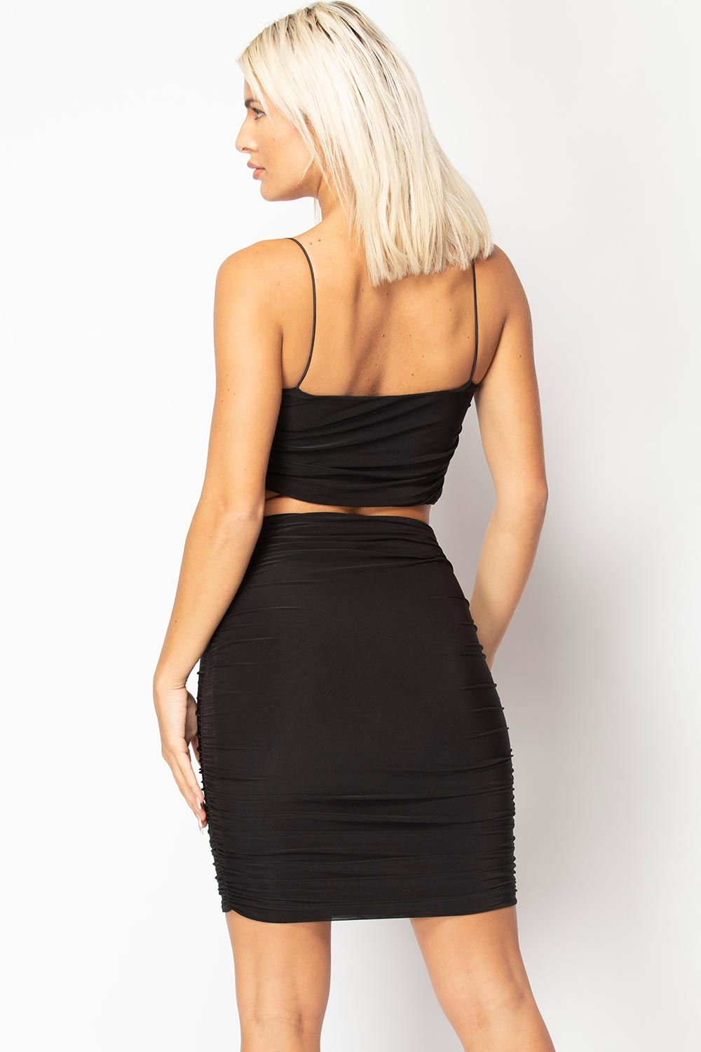 black crop top and skirt set